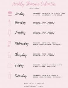 Weekly Skincare Calendar
